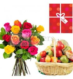1d25fe4c9e Bouquet of 12 Assorted Roses - Wrapped in cellophane sheet packing +  Seasonal fresh fruits basket