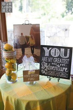 With something else over than lemons on the vase thing - HoneyMoon Archives 2019 Purple Wedding, Fall Wedding, Rustic Wedding, Our Wedding, Dream Wedding, Wedding Reception, Wedding Ideas, Honeymoon Bridal Showers, Honeymoon Fund