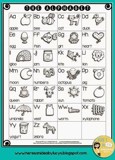 FREE B&W English Alphabet Chart - have kids color the pictures and keep this chart for reference