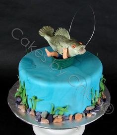 So many awesome groom cake ideas from fishing, baseball, football, star wars, basically every Fondant Cakes, Cupcake Cakes, Fisherman Cake, Fish Cake Birthday, Birthday Cards, Cakes For Men, Occasion Cakes, Fancy Cakes, Themed Cakes