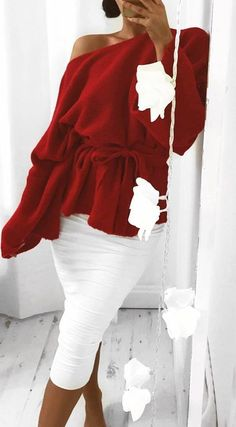 white and red | one shoulder oversized sweater and pencil skirt