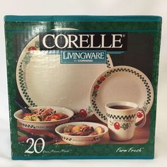 Corelle Farm Fresh 20 Piece Dinnerware Set New Sealed Box Plate Bowl Mug Apple | Pottery & Glass, Glass, Glassware | eBay!