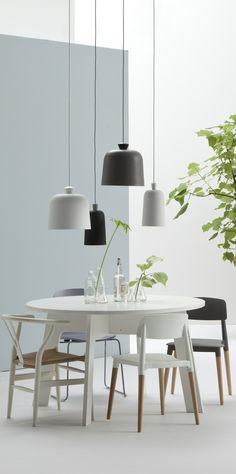 All black and white and natural details, pale mint statement wall and missmatched chairs, scandinavian modernity Dining Nook, Room Interior Design, Dining Room Lighting, Home Decor, Home Deco, Scandinavian Dining Room, Interior Design, Scandinavian Interior, Home And Living