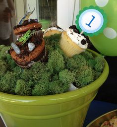 party: Dylan is Insect theme birthday party - cupcakes in a pot of moss.Insect theme birthday party - cupcakes in a pot of moss. 20th Birthday, Birthday Bash, Birthday Party Themes, Birthday Ideas, First Birthday Party Supplies, First Birthday Parties, Bug Snacks, Bright Color Schemes, Cupcake Party
