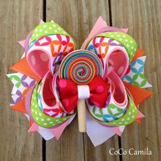 Girl Bright Colors Hair Bow Clip  Lollipop Center by cococamila, $10.00