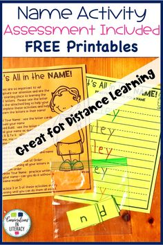 FREE Name activities for kindergarten and preschool! Great for distance learning. Easy to send home for parents to help with letter recognition. Assessment is also included! #backtoschool #letterrecognition #letteridentification #abc #distancelearning #kindergarten #preschool #homeschool #elementary #conversationsinliteracy kindergarten, preschool, homeschool