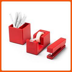 Desktop Starter Set, Red (Stapler, Tape Dispenser, Pens, Pen Cup) - Refine your workspace (*Amazon Partner-Link)