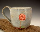 Pottery Mug - Rustic Blue - Flower - Coffee Mug - Flower Mug - Large Mug - by DirtKicker Pottery #EasyNip