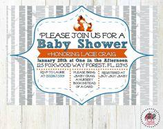 Fox Baby Shower Invitation Fox Baby White Grey by NatBugsCREATIONS