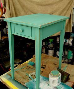 Teal & Persimmon side table~tutorial