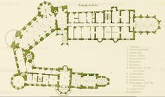 Das erste Stock (first floor (British English)) of Burg Hohenzollern in Bisingen, Baden-Württemberg.  1. Freitreppe = Flight of steps 2. Stammbaum-Halle = Pedigree Hall 3. Grafen-Saal = Count Hall 4. Kaiser-Zimmer = Kaiser room 5. Bischofs-Nische = Bishop's niche 6. Bibliothek = Library 7. Vorzimmer = Antechamber 8. Wohnzimmer Senior Majestät des Königs = Senior Living Majesty the King 9. Schlafzimmer = Bedroom 10. Kammerdiener = Valet 11. Eintrittszimmer = Entrance room 12. Wohnzimmer Ihrer…