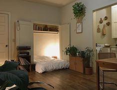 Ideas studio apartment bed in closet Studio Apartment Bed, Apartment Ideas, Bohemian Studio Apartment, Studio Bed, Home Bedroom, Bedroom Decor, Bedrooms, Bed In Closet, Closet Bedroom