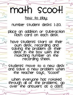 "This freebie contains two recording sheets plus directions to play addition and subtraction ""Scoot!"" with your class. Use basic addition or subtraction flash cards for a quick and easy game, or make it challenging by putting two or three digit math problems on each desk!"