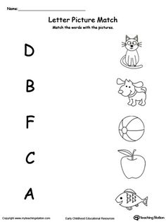 **FREE** Uppercase Beginning Letter Sound: D B F C A Worksheet.Encourage your child to learn letter sounds by practicing saying the name of the picture and connecting with the correct letter in this printable worksheet. Beginning Sounds Worksheets, English Worksheets For Kindergarten, Preschool Writing, Preschool Letters, Preschool Learning, Preschool Activity Sheets, Letter Sound Activities, English Activities, Vocabulary Activities