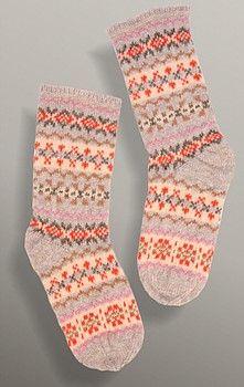 100% Shetland wool six colour fairisle sock