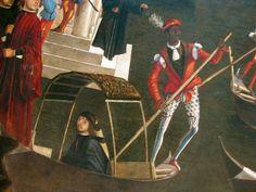 """Vittore Carpaccio nel suo quadro """"Miracolo della reliquia della croce a ponte di Rialto"""" (1494), famoso per ritrarre il vecchio ponte di Rialto ancora in legno."""