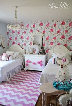 The Girls' Christmas Bedroom by Dear Lillie Yarn Trees, Unicorn Ornaments, Dear Lillie, Christmas Bedroom, Vintage Chairs, Pottery Barn Kids, Christmas Inspiration, Girl Room, Home Goods