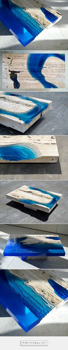 Cut Travertine Marble and Resin Merge to Create 'Lagoon' Tables | Colossal - created via https://pinthemall.net