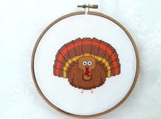 Turkey cross stitch Thanksgiving PDF pattern by TheCompassNeedle