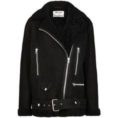 Acne Studios More suede and shearling jacket (£1,900) ❤ liked on Polyvore featuring outerwear, jackets, shearling jacket, acne studios, asymmetrical zipper jacket, asymmetrical zip jacket and suede leather jacket