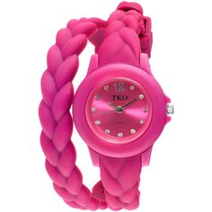 TKO ORLOGI Womens Crystal-Accent Braided Pink Silicone Strap Wrap... ($36) ❤ liked on Polyvore featuring jewelry, watches, pink braided bracelet, dial watches, woven bracelet, wrap watches and tko orlogi watches