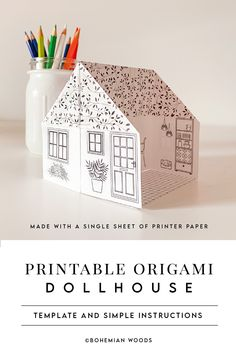 Printable Origami Paper House | Ivy Cottage | Coloring Page | Kid's Activity | Instant Download | Paper Dollhouse | Paper Craft Paper Crafts Origami, Origami Paper, Origami With Printer Paper, Paper Folding Crafts, Oragami, Up Book, Book Art, Crafts To Do, Arts And Crafts