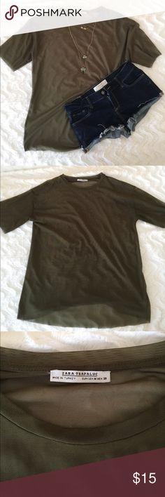 Sheer Zara T-Shirt Size medium. Worn once. Like new with no rips or any wear or tear. Zara Tops Tees - Short Sleeve