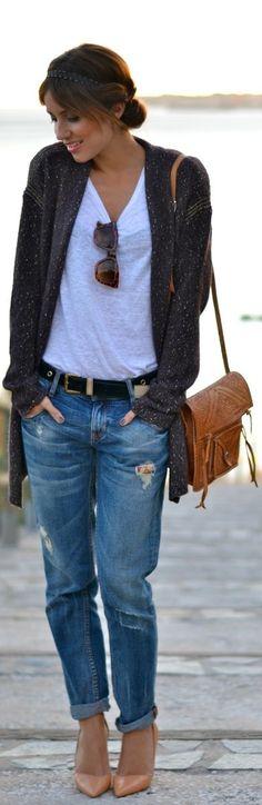 Boyfriend jeans Nude Black White Blazer