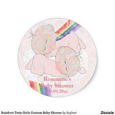 Rainbow Twin Girls Custom Baby Shower Classic Round Sticker