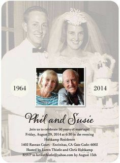 Ideas Diy Gifts For Parents Anniversary Good Ideas For 2019 - wedding anniversary invitations - Spousal 50th Wedding Anniversary Invitations, Wedding Anniversary Celebration, Parents Anniversary, Anniversary Photos, Golden Anniversary, 50 Year Anniversary, Anniversary Cookies, Anniversary Crafts, Wedding Stationery