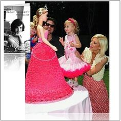 Tori Spelling and husband Dean McDermott celebrated daughter Stella's birthday surrounded by everything PINK! At the center of the birthday party celebration was a several foot high gorgeous Barbie doll cake. If you would like to make a doll… Bolo Barbie, Barbie Cake, Barbie Party, Barbie Doll, Barbie Birthday Cake, Pink Birthday, 4th Birthday, Birthday Ideas, Pink Princess Party