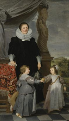 de Crayer, Gaspar (attributed) - PORTRAIT OF MECHTELD LINTERMANS (D. 1641) AND HER TWO CHILDREN, PROBABLY JAN BAPTIST BIERENS (1620-1690) AND MARIA MAGDALENA (1622-1688).  ANTWERP 1584 - 1669 GHENT.  oil on canvas.  91 by 51 1/2 in.; 231.1 by 130.8 cm.