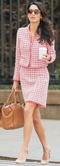 Who made Amal Clooney's red tweed jacket, dress, sunglasses, and brown handbag?…