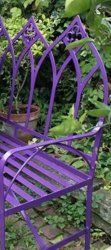 Purple Gothic Garden Bench. Love how this color pops against the greenery!