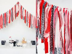 I'm not sure that I need yet another garland idea, but this is so easy and customizable!  Maybe I'll make this with some green, red & gold for Christmas...