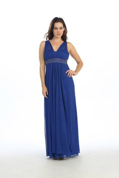 Long Plus Size Layered Formal Pleated Flowy Dress - The Dress Outlet - 1