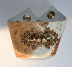 Vintage Assemblage on Pony Leather Cuff Bracelet with Filigree, Key, Pearls.