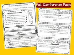 Parent/Teacher Conference pack -- The pack includes a parent conference guide to fill out during the conference, a parent conference reminder slip in English and in Spanish, and a missed conference slip in English and in Spanish.