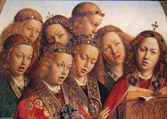 Ángeles cantores ( detalle del Políptico del Cordero Místico). Jan van Eyck