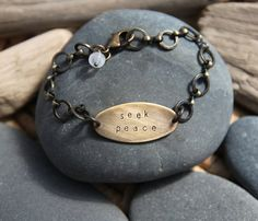 Let yourself seek peace with your next breath, your next step. Yes. :: a hand stamped Soul Mantra bracelet