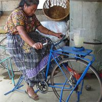Pedal powered water pumps, threshers, blenders, tile makers and more