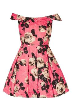 Floral print for prom! Love this off shoulder fit and flare dress by Topshop.
