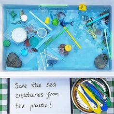 Save the oceans sensory bin Use blue food colouring, some plastic recycling and some sea creatures for this great preschool … Recycling Activities For Kids, Animal Activities For Kids, Eyfs Activities, Earth Day Activities, Classroom Activities, Toddler Activities, Nursery Activities, Preschool Kindergarten, Amazing Animals