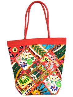Handmade KutchWork Vintage Handbag in Silk-Red 1