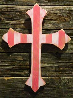 Pink and white striped distressed wood cross