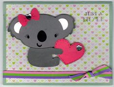 Bear Holding Heart Handmade Good Greeting Supply Card - Cards And Other Paper Products - Made In U.S.A. - SharPharMade - 1