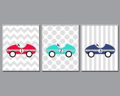 Baby Boy Nursery Art Prints Retro Car Nursery Wall by HopAndPop