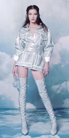 Coat n boots that are out of this world - Chatbot - The Chatbot Device which help to provide customer service … Kpop Fashion Outfits, Stage Outfits, Mode Outfits, Fashion Dresses, Look Fashion, Korean Fashion, High Fashion, Fashion Show, Fashion Design