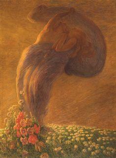 Gaetano Previati, L'angelo della vita, 1894 - Budapest, Museo di Belle Arti