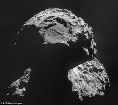The comet as seen by the Rosetta spacecraft on 6 November. The landing site chosen for its lander, Philae, can be seen close to the top of the image above a large boulder-filled depression. Sistema Solar, Rosetta Spacecraft, Rosetta Mission, Mission Control, Across The Universe, Space Exploration, Close Up Photos, Photojournalism, Landing